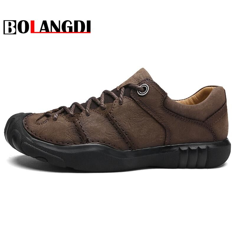 Bolangdi 2018 Summer New Men Hiking Shoes Nubuck Climbing Shoes Waterproof Outdoor Trekking Shoes Genuine Leather Mountain Shoes