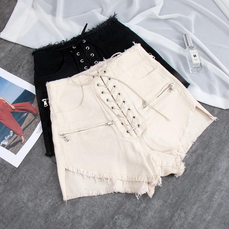 Wholesale Lace Up Bandage Wide Leg Denim Shorts Female High Waist Punk Street Style Zipepr Chains Hot Shorts Wq1617 Dropship