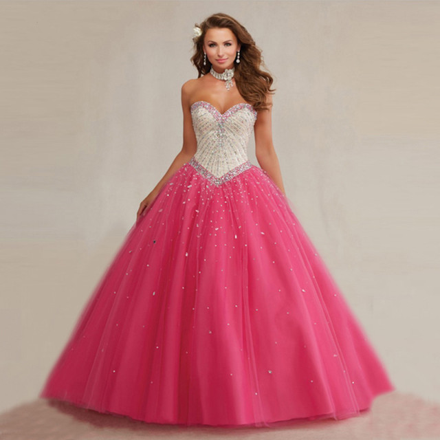 Elegant Crystal Beaded Sweetheart Long Tulle Fuchsia Quinceanera Dresses  Ball Gowns Puffy Sweet 16 Dress 752e42bba32d