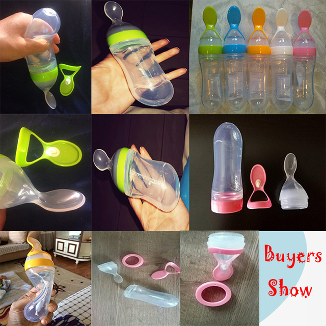 1 Pc 90ml Baby Feeding Bottle Silicone Extrusion Type Feeding Infant Kids Care Spoon Rice Paste Baby Food Bottle 3 Colors