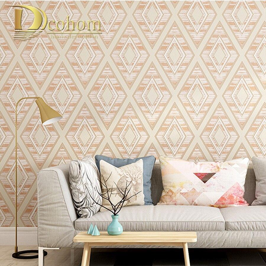 Simple Thick Flocked Modern Wallpaper Design 3D Rhombus Non Woven ...