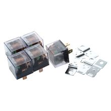 5Pcs 1NC+1NO SPDT 5P Green Lamp Car Relay DC 12V 80A