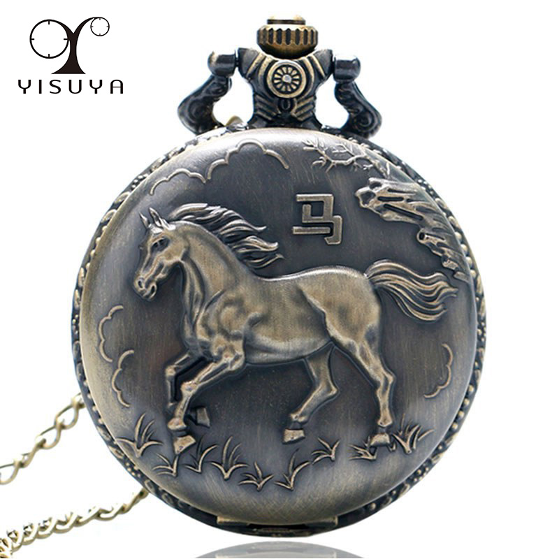Vintage Retro Pocket Watch Round Full Hunter Fob Watch Horse Pattern Zodiac with Necklace Chain Gifts for Men Boy Gift Bag otoky montre pocket watch women vintage retro quartz watch men fashion chain necklace pendant fob watches reloj 20 gift 1pc