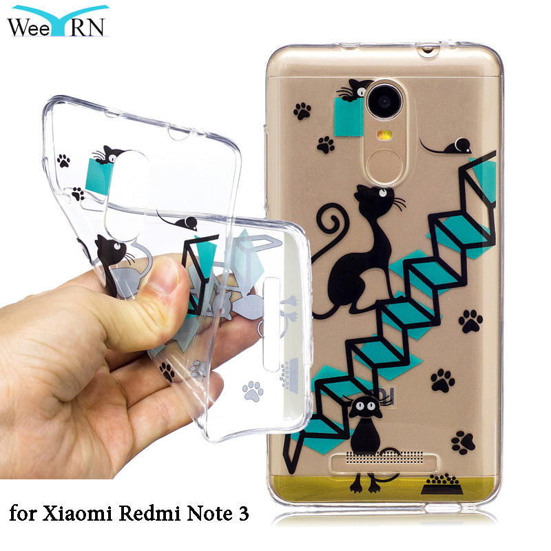Transparent Luxury Case For Xiaomi Redmi Note 3 Cute Cat Cartoon Soft Silicone TPU Case Cover For Xiaomi Redmi Note 3 Pro Funda