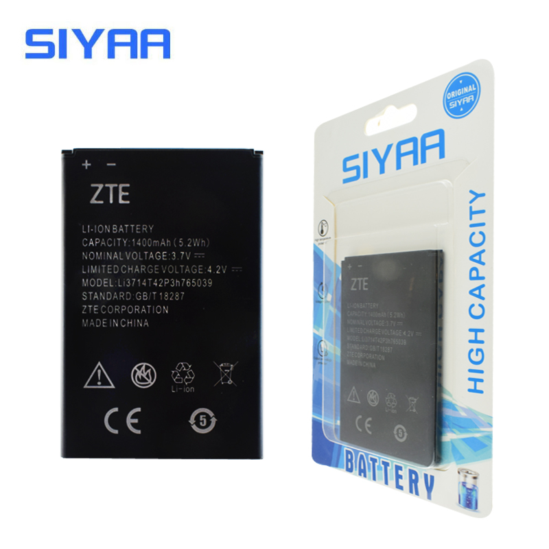 Original SIYAA Battery LI3714T42P3H765039 For ZTE Blade A3 T220 AF3 T221 A5 AF5 High Replacement Battery Real Capacity 1400mAh