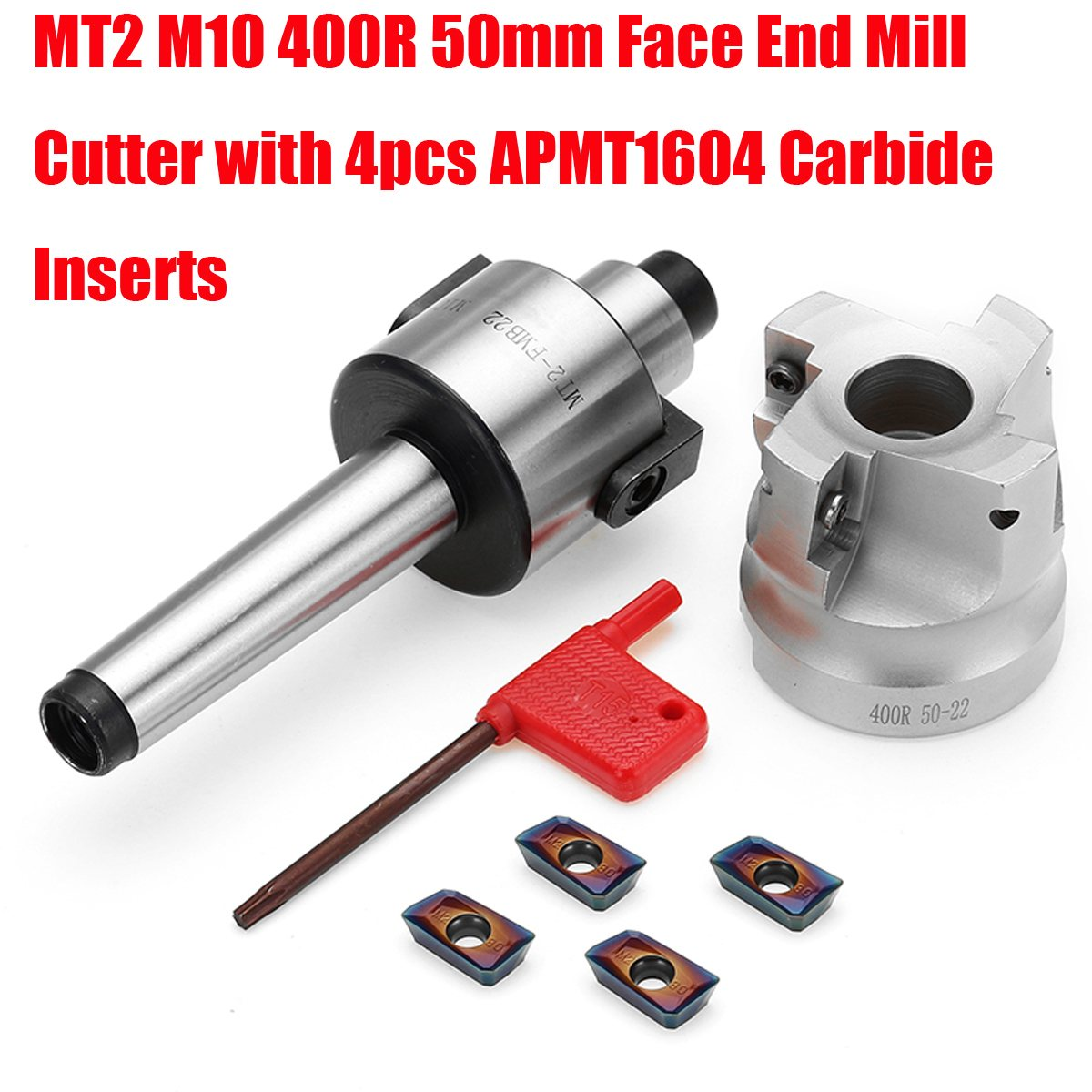 MT2 M10 50mm Face End Mill Cutter with 10pcs APMT1604 Carbide Inserts