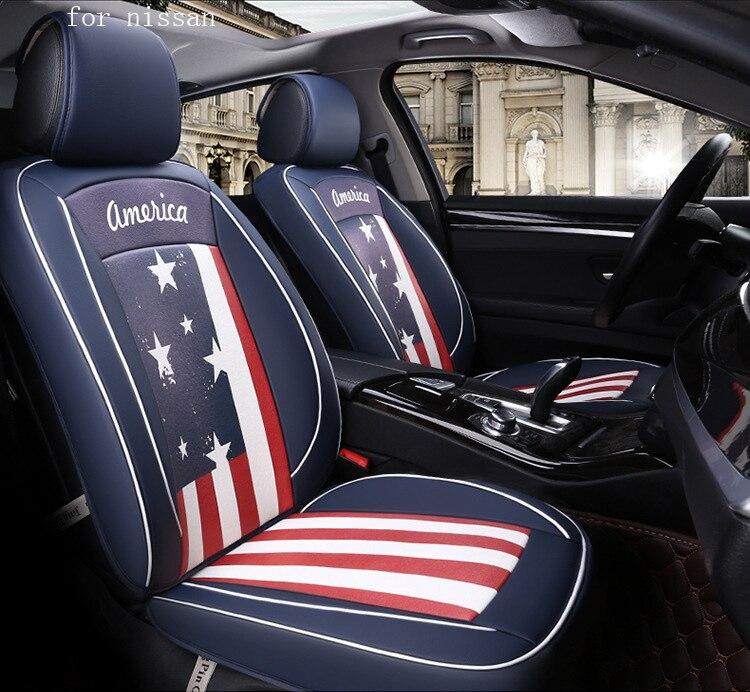OUZHI flag pattern pu leather car seat cover for nissan qashqai j11 x-trail t32 nissan juke tiida front rear full universal car цены онлайн