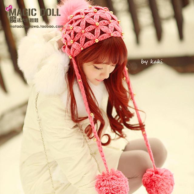 Cap chapéu da princesa lolita doce mel vermelho com bola de pêlo flor de ouro pérola malha gorros de malha para gentlewoman jovens meninas personalizado