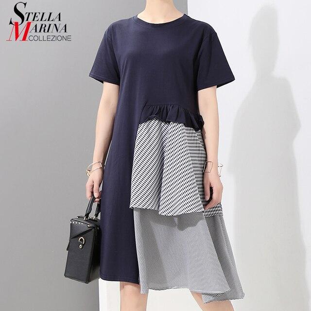 New 2018 Women Summer Clothing Blue Black Patchwork Striped Dress Short Sleeve Knee Length Girls Unique Wear Dresses Style 7098