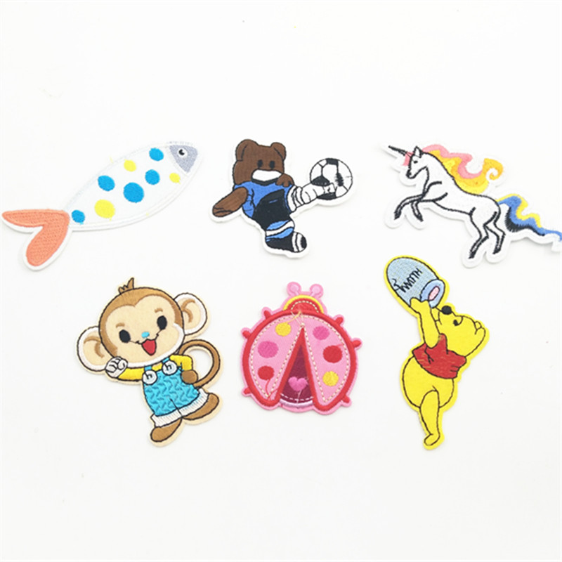 Sewing Clothes Patch Iron On Embroidery Patches Hotfix Applique Motifs Sew On Garment Stickers monkey horse and other