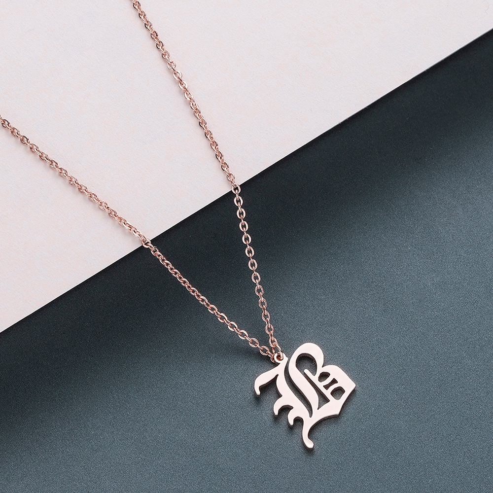 Todorova Old English Custom Capital Initial A-Z Letter Pendant Necklace Men Vintage Font Personalized Necklace Women Jewelry 6
