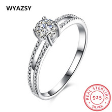 Luxury 100% S925 Silver Ring For Women Vintage Jewelry Zircon Rings New Fashion Fine White Crystal Bride Wedding Engagement Ring