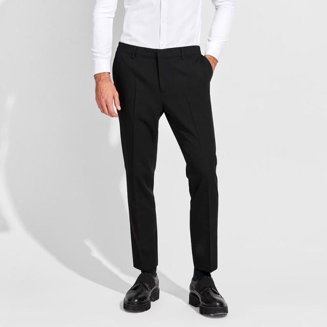 0423b6a50 men ankle length trousers grey blue black summer smart casual mens dress  pants slim fit elastic waist mens formal wear XS 2XL