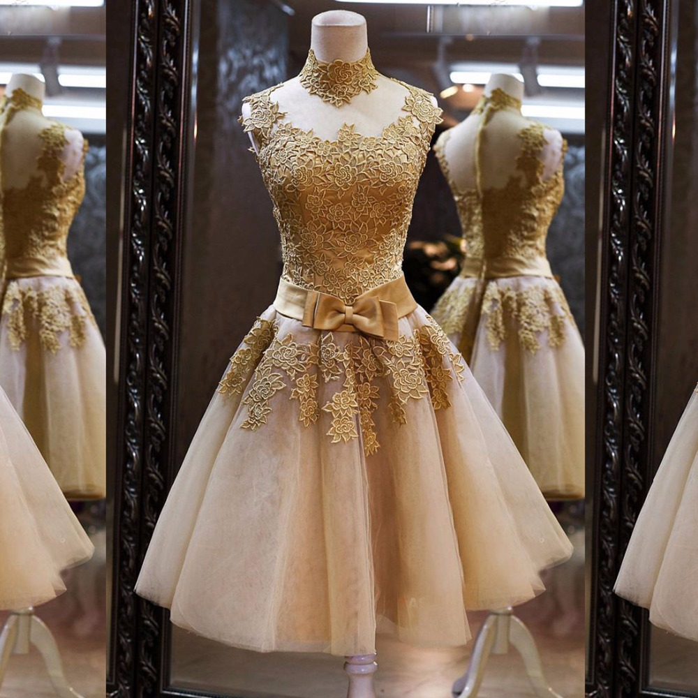 Charming Lace Appliques Short Prom   Dress   A-Line High-Neck Bowknot   Cocktail     Dresses   Custom Made