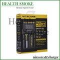 Chegada Nitecore D2 Digicharger LCD carregador de bateria Nitecore carregador ue / eua / UK Plug