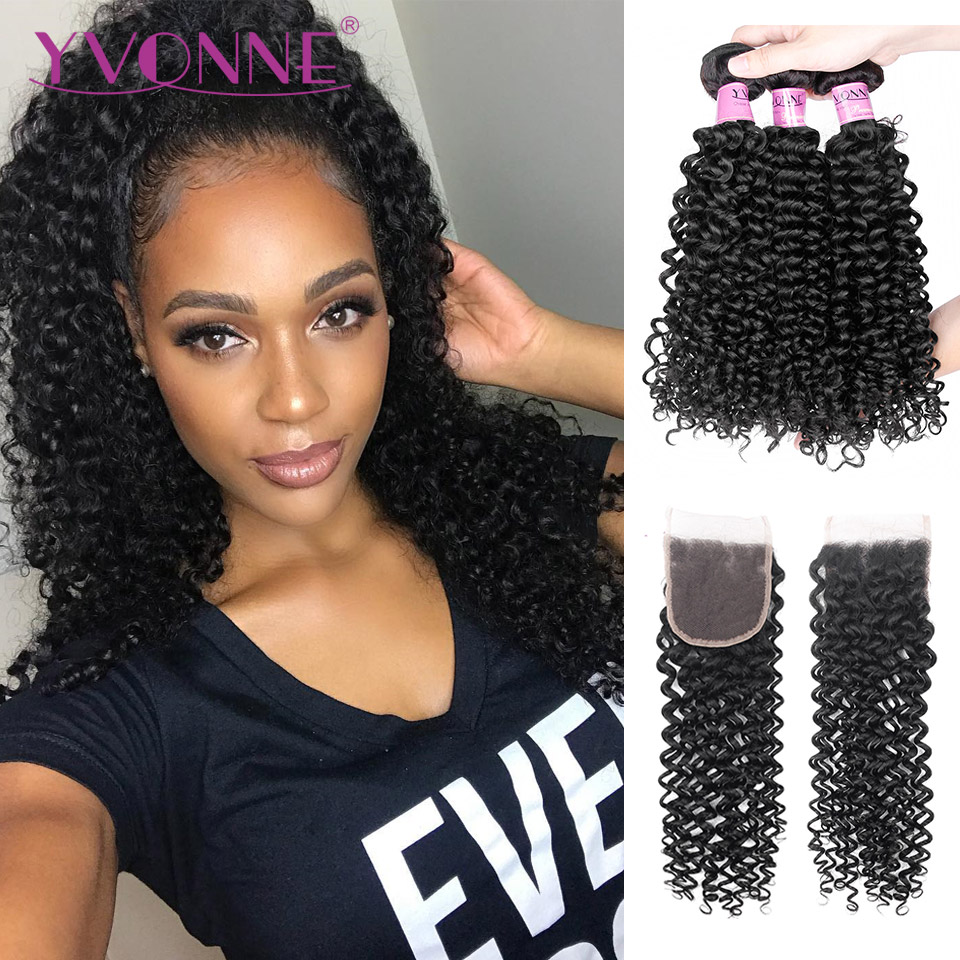 Yvonne 3C 4A Malaysian Curly Hair Bundles With Closure 3 Bundles Virgin Human Hair With Free Part Lace Closure 4x4
