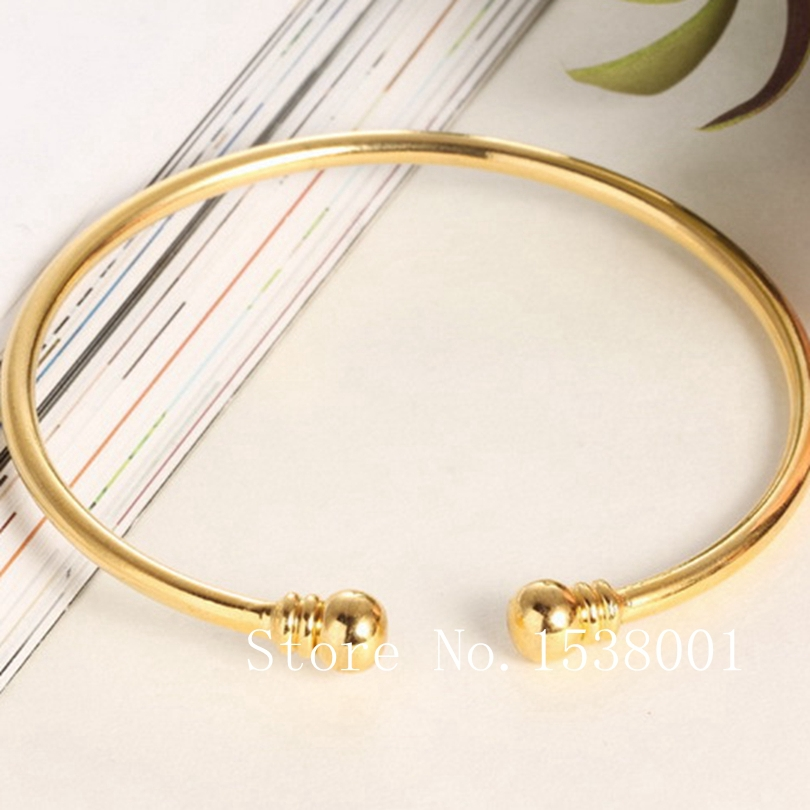 Smooth Plain Bracelet 18k Yellow Gold Filled Womens Cuff Bangle Dia 58mm bangle