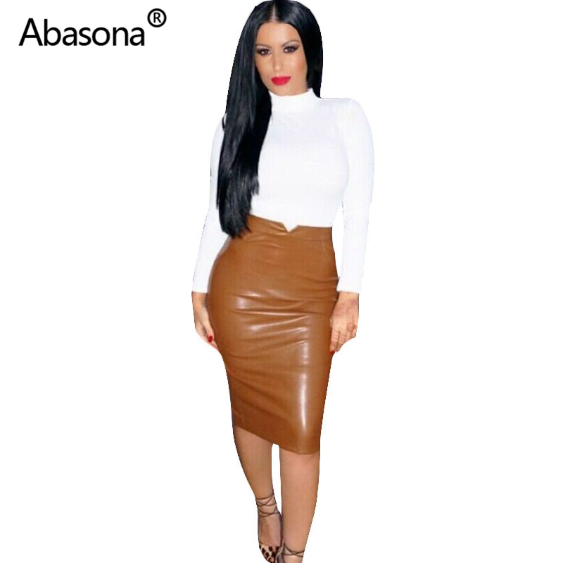 Women Pu Leather Skirt Autumn Streetwear Casual Office Work Wear Bodycon Pencil Skirt High Waist Long Velvet Skirts Women Jupe image