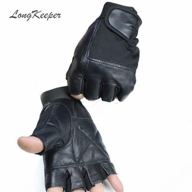 Longkeeper Cuero auténtico Guantes para hombres mujeres sin dedos ...