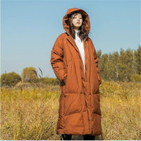 Literary and artistic leisure ribbed sleeves hooded down garments thickened long white eiderdown 2018 winter women's jackets