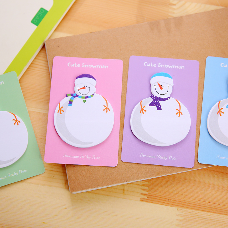100pcs Snowman Memo Pad Paper Sticky Notes Stickers Planner Loose Leaf Christmas Gift Decoration MemoPad School/Office wholesale
