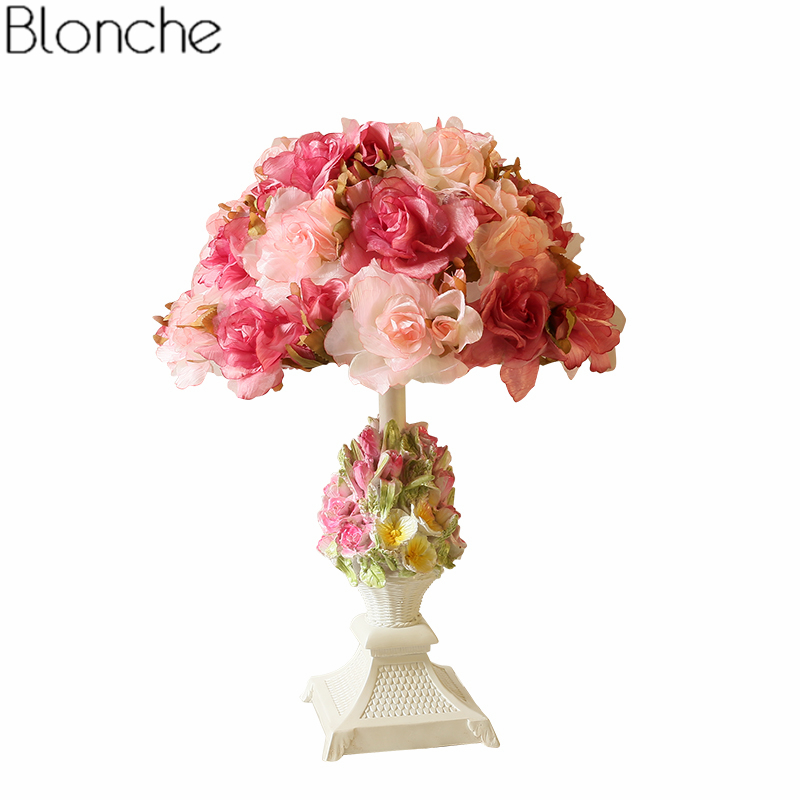 Modern Flower Table Lamp Bedroom Bedside Lamp Romantic Wedding Led Stand Desk Light Princess Girl Room Decor Lighting Fixtures комплект постельного белья унисон бархат