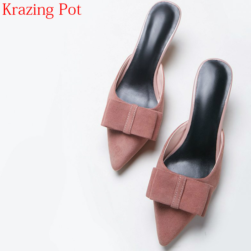 New Arrival Kid Suede Pointed Toe Bowtie Med Heel Sweet Mules Party Summer Princess Style Stiletto Slingbacks Women Pumps L36 2017 new fashion brand spring shoes large size crystal pointed toe kid suede thick heel women pumps party sweet office lady shoe