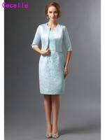 Blue Lace Mother Of The Bride Dresses Suits With Jackets Scoop Wedding Party Gowns Half Sleeves