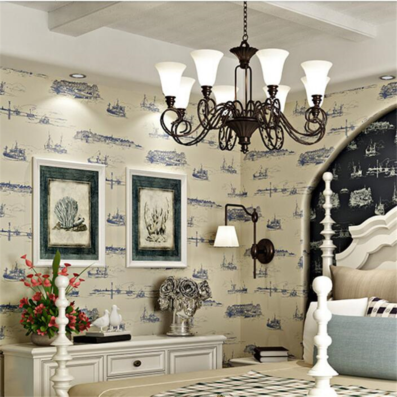 beibehang non - woven wallpaper American Mediterranean sailing wallpaper living room study bedroom children papel de parede beibehang children room non woven wallpaper wallpaper blue stripes car environmental health boy girl study bedroom wallpaper