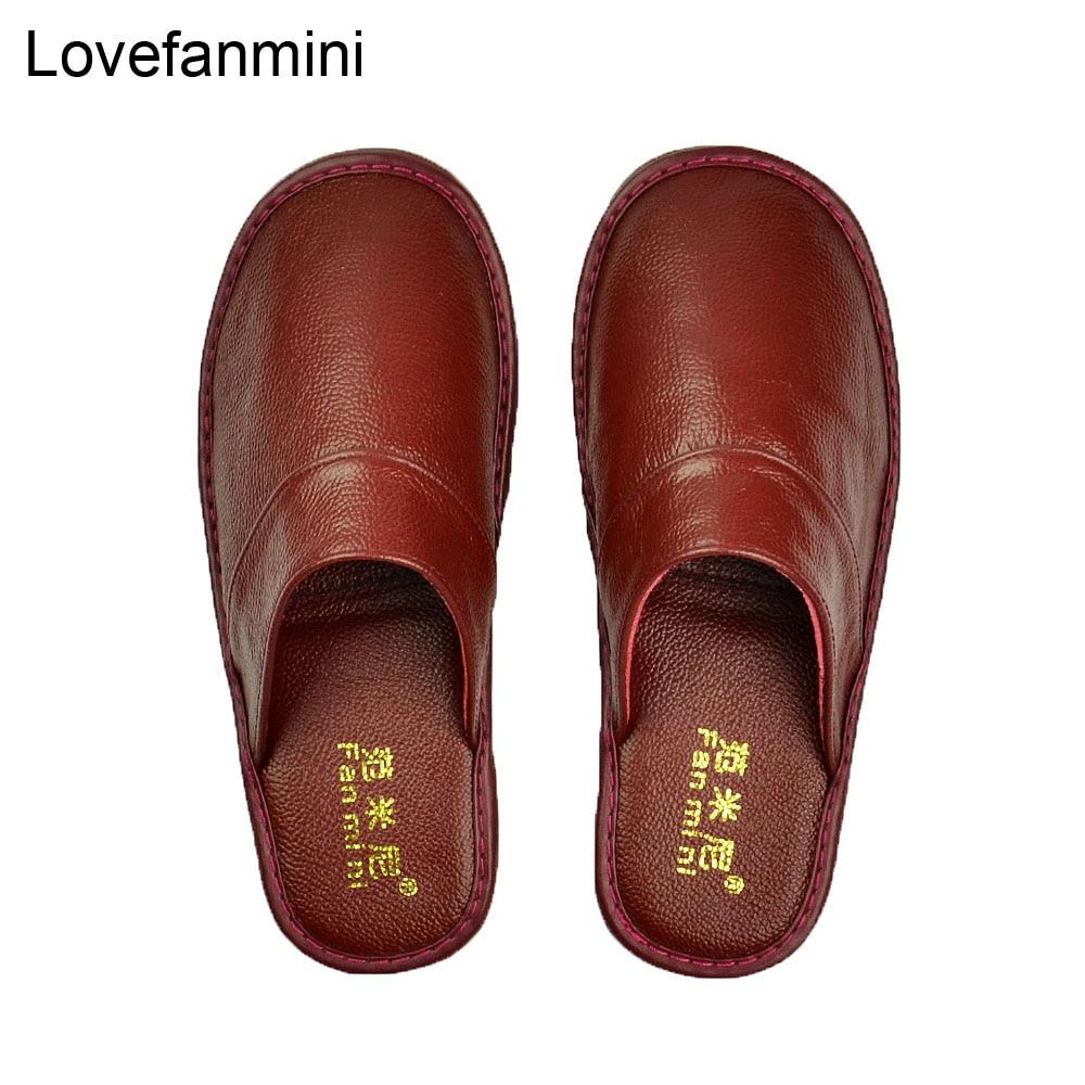 Image 4 - Домашние тапочки из натуральной коровьей кожи; Нескользящая обувь для мужчин и женщин; Модные повседневные тонкие туфли; TPR; Мягкая подошва; Сезон весна осень; 519Тапочки   -