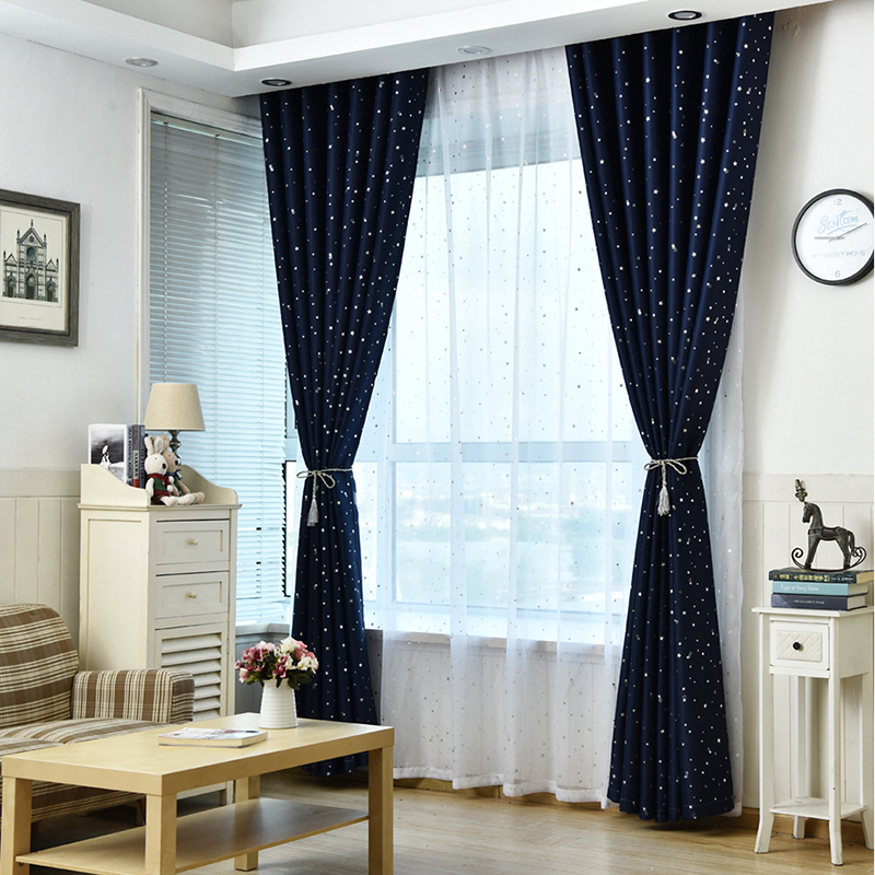 Stars Curtain Decoration Drapes Children Bedroom Tulle Fabric ...