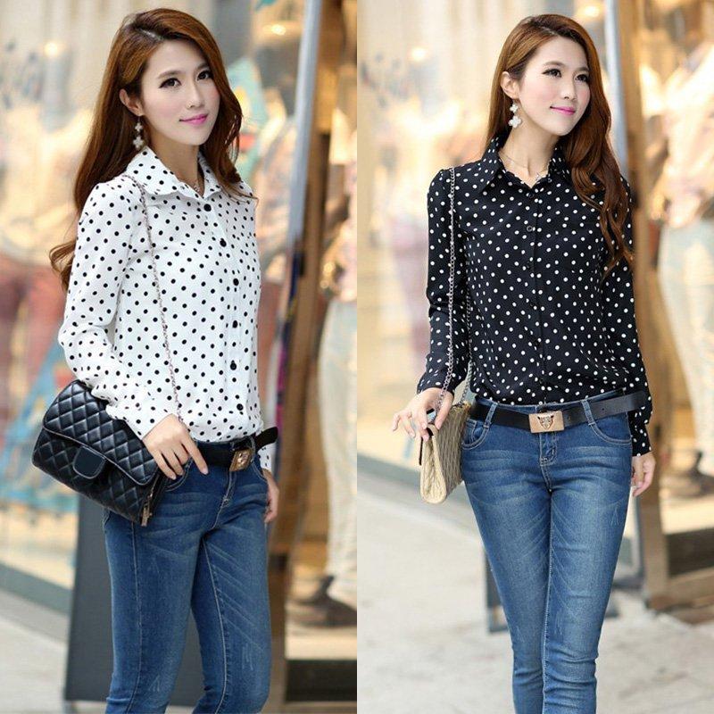 Women Good Quality Blouse Chiffon Polka Dot Long Sleeve Loose Tops Blouse Casual Shirt