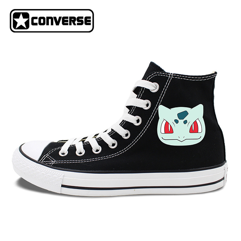 Anime Converse Chuck Taylor 2 Colors Black White All Star Skateboarding Shoes Pokemon Bulbasaur Canvas Sneakers anime converse all star skateboarding shoes boys girls pokemon snorlax white black canvas sneakers design 2 colors