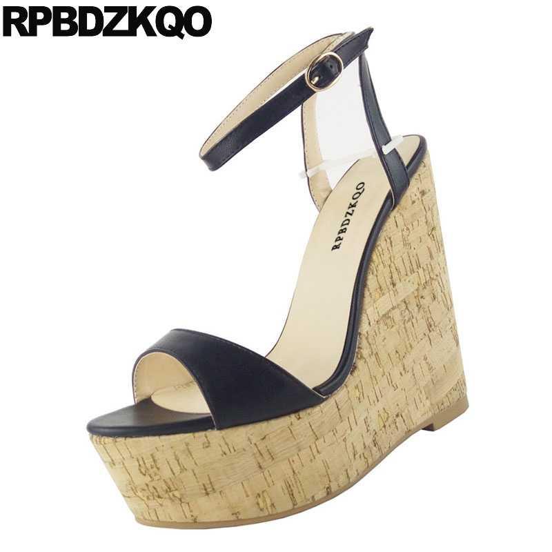 09cd02a502b Pumps Shoes Large Size High Heels Cork Sexy Crossdressed Burgundy Fetish  Women 11 Ankle Strap Platform Wedge Sandals Summer
