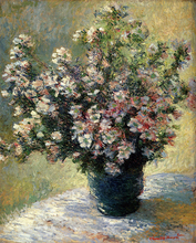 Monet Claude Vase Of Flowers Impression  Wall Art Painting Kitchen Decor Classical Background High Quality