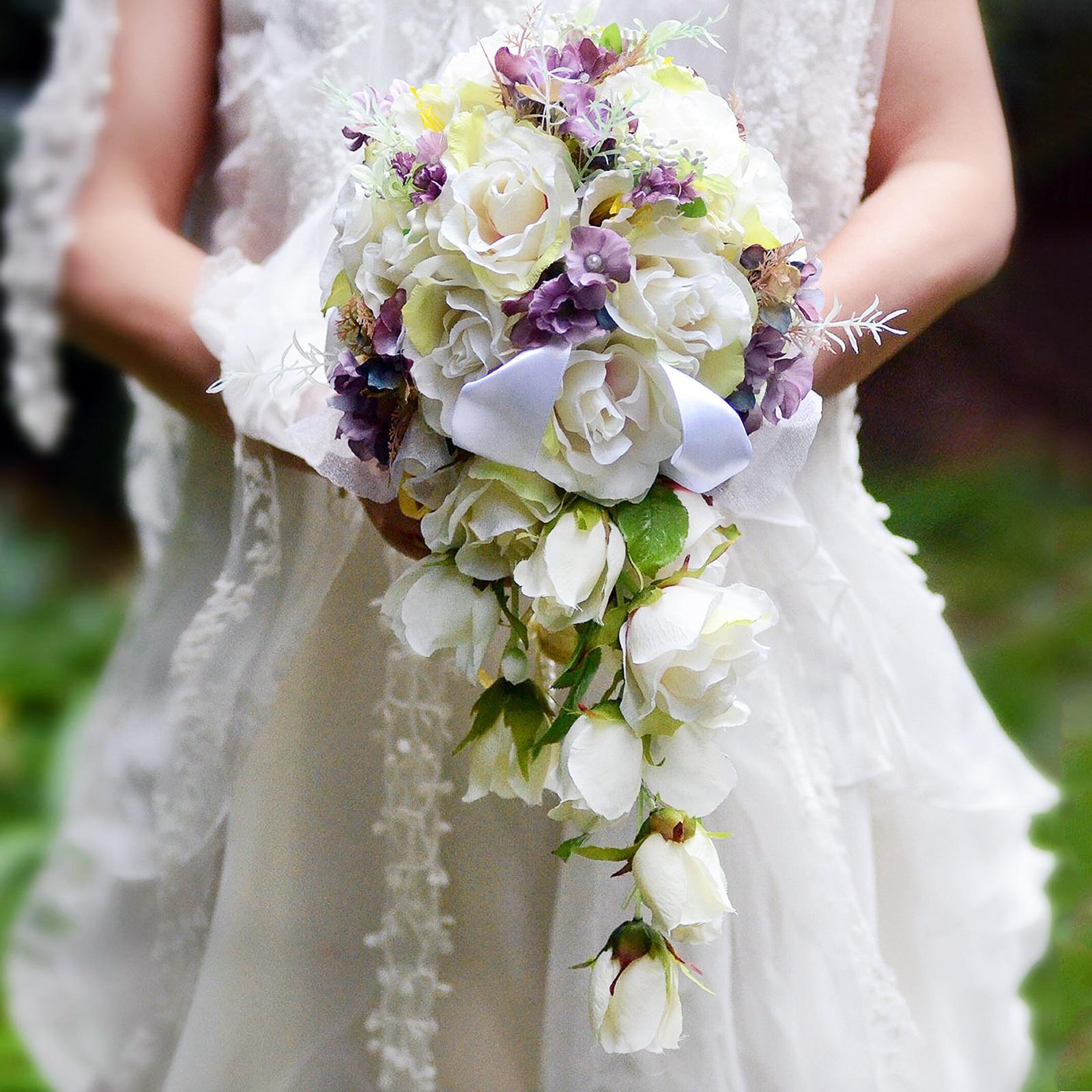 32x24x45 cm fleurs de mariage blanc violet Bouquets de mariée Bouquets de mariage artificiels Bouquet de fleurs de soie de mariée