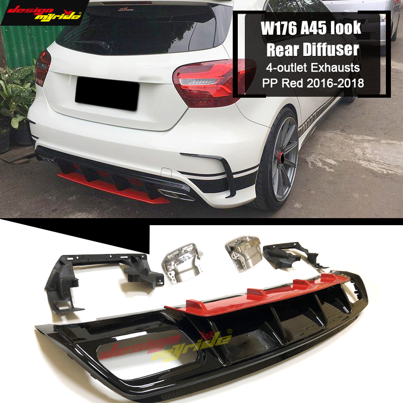 A45 look Diffuser 304 Stainless Steel 4 Outlet Exhaust Tip ABS Fits For Mercedes Benz W176 Sport Edition A180 A200 A250 2016 in in Bumpers from Automobiles Motorcycles