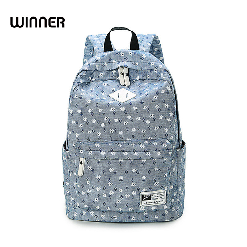 Brand Design Fresh Cute Book Bags Floral High Quality Canvas Printing Backpack Women School Backpacks For