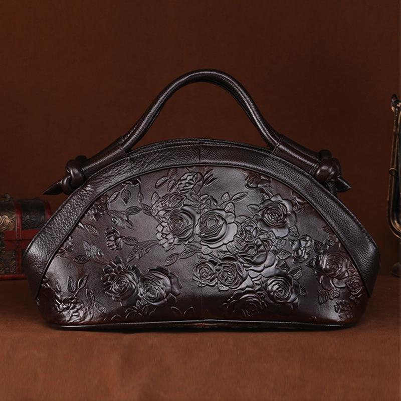 Women Oil Wax Cowhide Shoulder Crossbody Messenger Bags High Quality Rose Pattern Genuine Embossed Leather Handbag