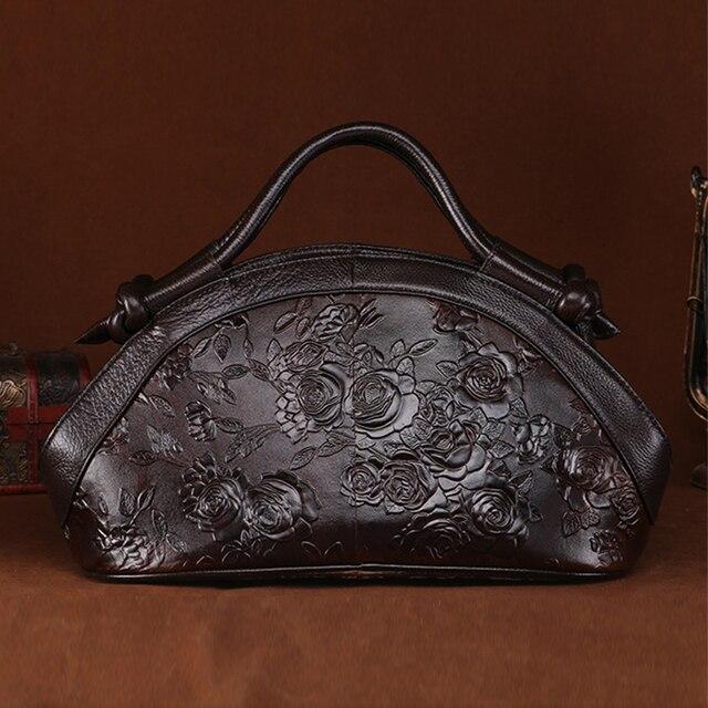 Genuine Embossed Leather Handbag Oil Wax Cowhide Rose Pattern Tote Bag Luxury Women Vintage Shoulder Crossbody Messenger Bag