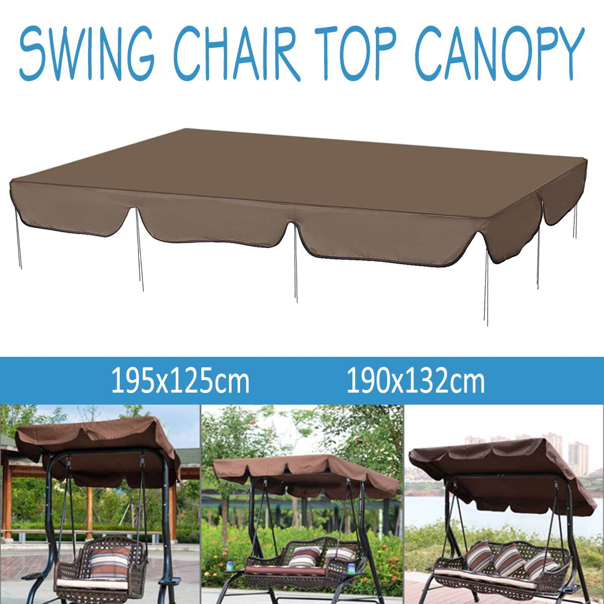 Waterproof Swing Chair Top Cover Awning Outdoor Garden