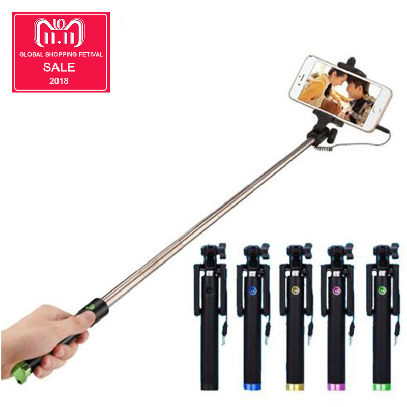 Audio Cable Wired Selfie Stick Extendable Monopod Self Stick for iPhone 6 plus 5 5s 4s IOS Samsung Android universal selfie stick for iphone 5 5s se 5c 6 6s plus monopod wired mini sport selfie stick for ios androic perche selfi stick