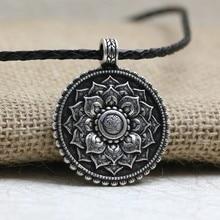 LANGHONG 1pcs Retro Tibet Spiritual Necklace Tibet Mandala pendant Necklace geometry amulet Religious jewelry