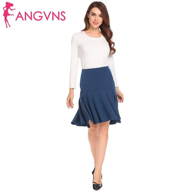 ANGVNS Women Pleated Skirt Ruffles Sexy Solid Irregular High Low Hem High Waist Short skirts Umbrella Skirt