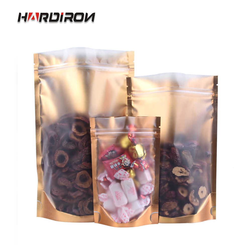 HARDIRON 100PCS Gold Front Frosted Translucent Window Zpper Bag Coffee Food Self-supporting Packaging Sealed Pouch