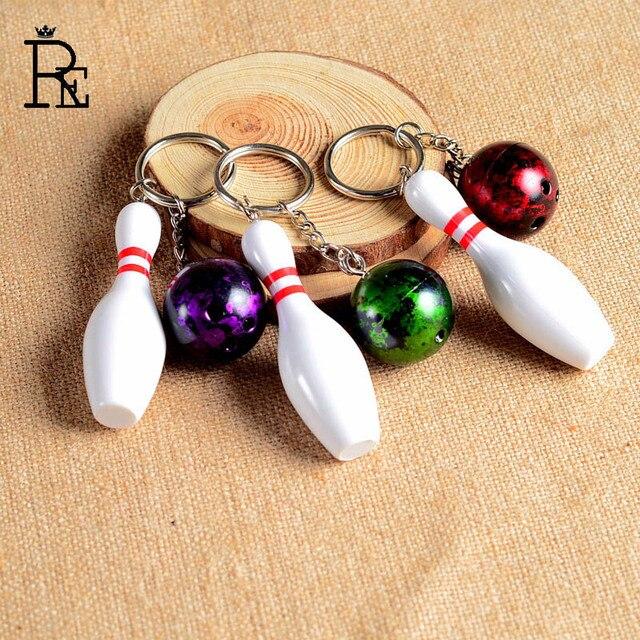 RE 100 шт/партия Бесплатная доставка 3D Боулинг брелок с шариком многоцветные повседневные спортивные стильные мужские и женские подростковые брелки брелок