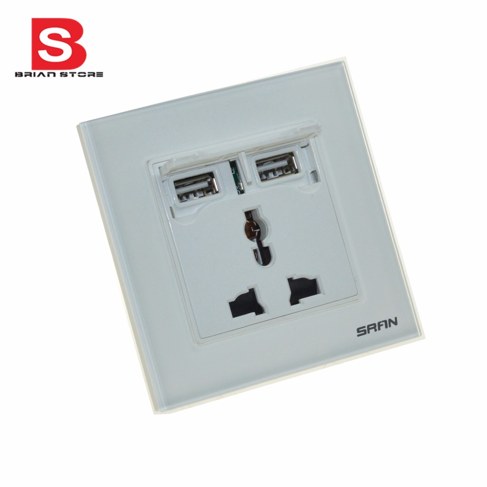 Switch Faceplate Socket With 2 Usb Port 5V Wall Faceplate Power Outlet Panel Socket