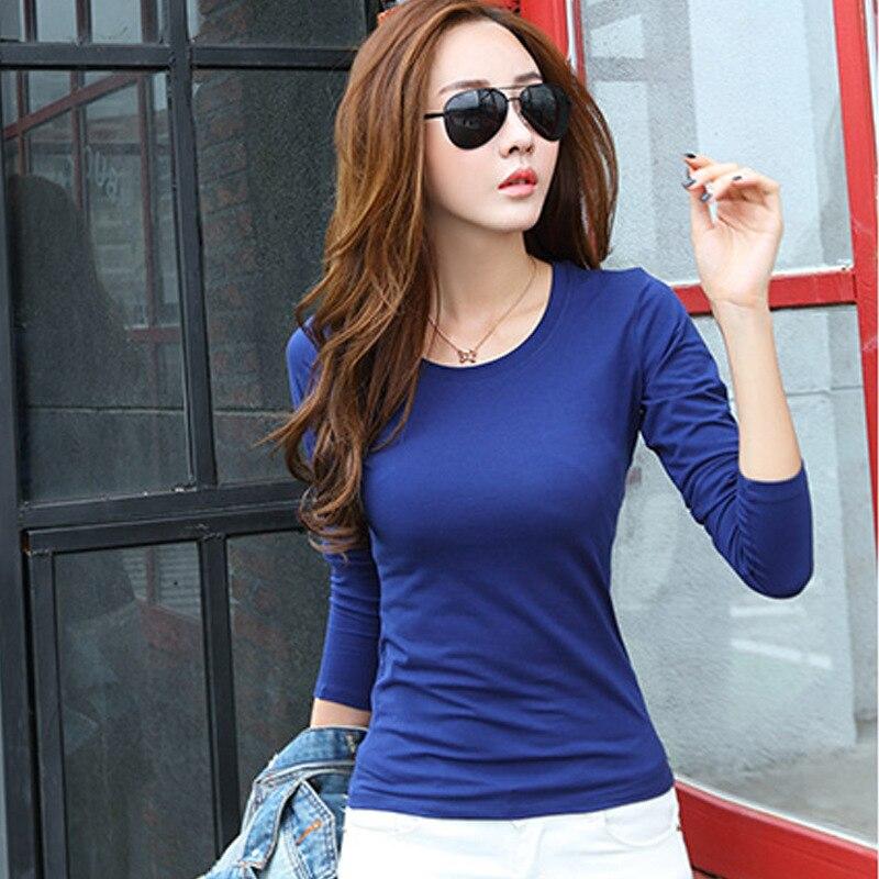 2019 Fashion Spring Autumn Woman's Casual T-shirt Basic Tops O-Neck Long Sleeve T Shirt Plus Size Blusas Roupas Femininas W00271