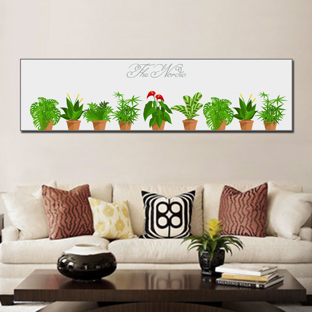 Unframed HD Poster Simple Art Painting Potted Plants Canvas Living Room Mural Cactus Decoration Unframed
