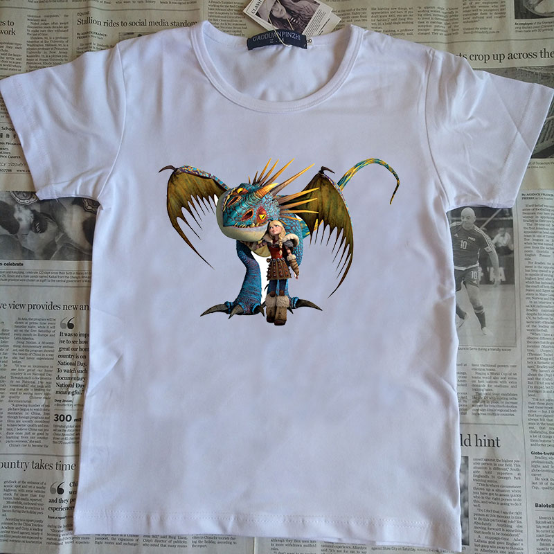Купить со скидкой new How To Train Your Dragon Cartoon wihte t shirt for boys and girls Toothless t-shirt summer top